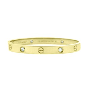 Cartier Love Bracelet 18k Yellow Gold Half Dia Size 19
