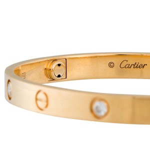 Cartier 18K Yellow Gold 4 Diamond Love Bracelet Size 18