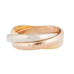 Cartier 18K Yellow, White, Pink Gold Trinity Ring Size 7.5