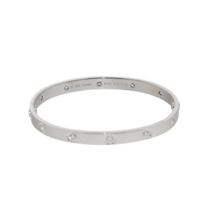 Cartier 10 Diamonds White Gold Love Bracelet Size 18