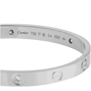 Cartier Love 18K White Gold 0.04 Ct Diamond Bracelet Size 17