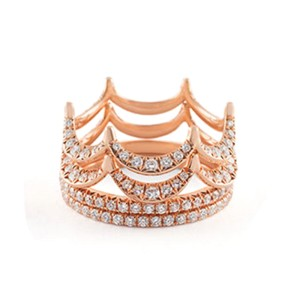 Jado Crown Rose Provence Quartet 18k Rose Gold Diamonds Ring