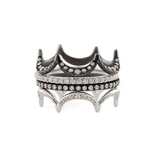 Jado Crown Ebony Ivory Quartet 18k White Gold with Rhodium Plating Diamonds Ring