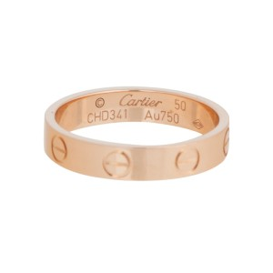 Cartier Mini Love 18K Rose Gold Ring Size 5.25