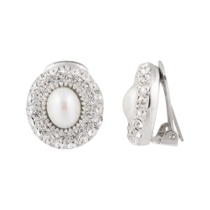 Christian Dior Silver Tone Metal Faux Pearl and Rhinestone Clip On Earrings