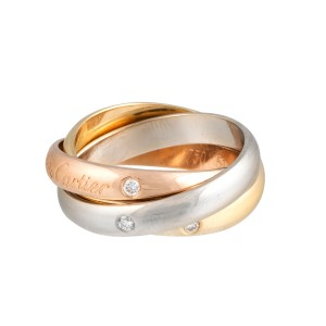 Cartier 18K Tri-Color Trinity Diamonds Rolling Band Ring Size 5.75