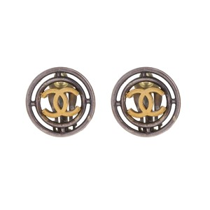 Chanel Silver and Gold-Tone CC Clip-On Earrings