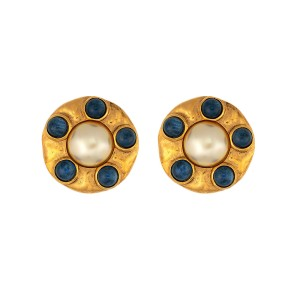 Chanel Gold-Tone Simulated Glass Pearl Clip-On Earrings