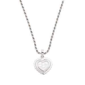 Chopard 18K White Gold Happy Diamond 0.25ct. Heart Motif Chain Necklace