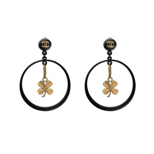 Chanel Gold Tone Hardware Black CC Cutout Drop Clover Hoop Clip On Earrings
