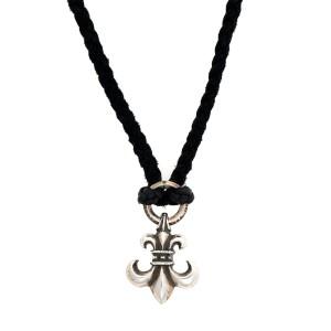 Chrome Hearts Braided Leather 925 Sterling Silver Fleur de Lis Necklace
