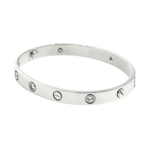 Cartier White Gold 6 Diamond Love Bracelet Size 17