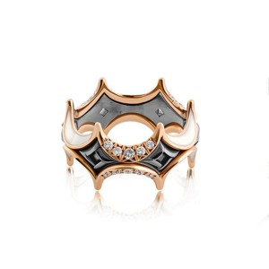 Jado Crown Couture Black and Gold With Diamonds 18k Yellow Gold Diamonds Ring