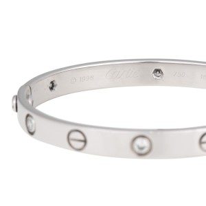Cartier Love 18K White Gold 6 Diamond Bracelet Size 16