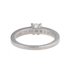 Cartier Ring 18K White Gold 0.24ctw Diamond Size 3.75