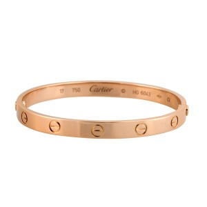 Cartier 18k Rose Gold Love Bracelet Size 17