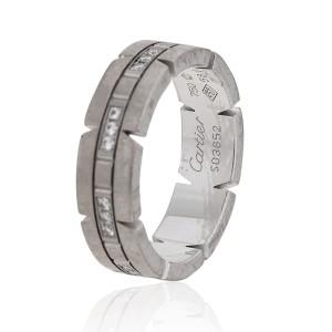 Cartier Tank Francaise 18K White Gold Diamonds Ring Size 8.25