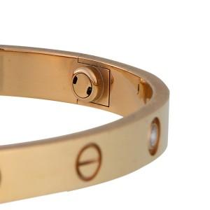 Cartier Love 18k Rose Gold 4 Diamond Bracelet Size 17