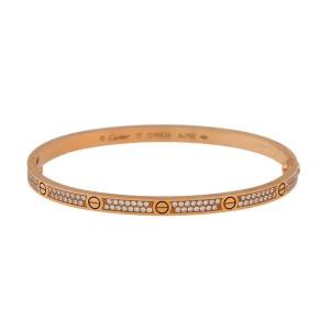 Cartier Love 18k Rose Gold Pave Diamond Small Model Bracelet Size 17