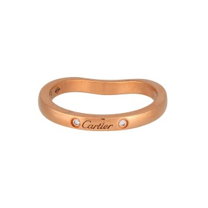 Cartier Ballerina Wedding Ring 18K Pink Gold 0.03ctw Diamond Size 4.5