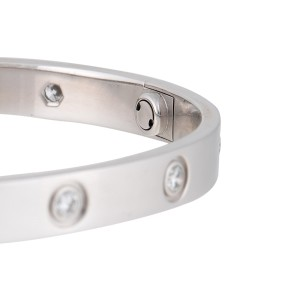 Cartier Love Bracelet 18k White Gold 10 Diamonds Size 17