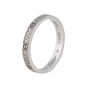Cartier Love Ring Small 18k White Gold Pave Diamonds Size 5.75