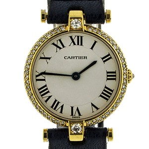 Cartier 18k Yellow Gold Vendome Diamond Bezel Ladies Watch