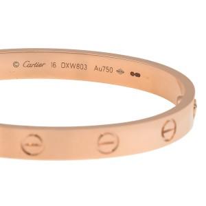 Cartier 18K Rose Gold Love Bracelet Size 16