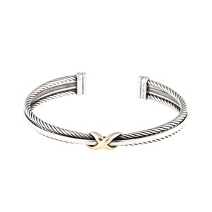 David Yurman 18K Yellow Gold and Sterling Silver X Crossover Cuff Bracelet