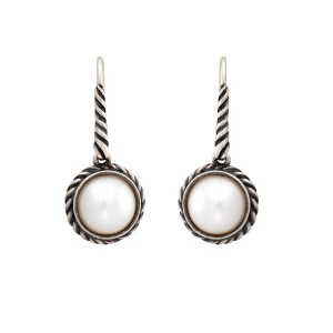 105fb9024 David Yurman 925 Sterling Silver Pearl Cable Drop Earrings | David Yurman |  Buy At TrueFacet