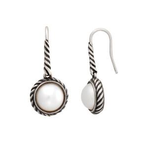 David Yurman 925 Sterling Silver Pearl Cable Drop Earrings