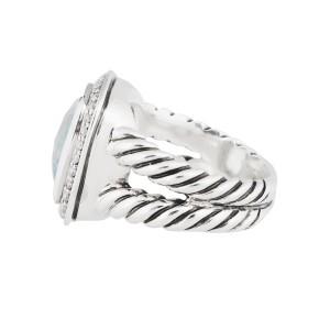 David Yurman Silver Blue Topaz Diamond Cerise Ring Size 5