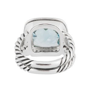 David Yurman Silver Blue Topaz Diamond Cerise Ring Size 5
