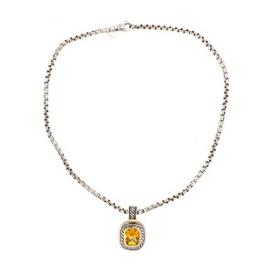 David Yurman Sterling Silver Citrine Pendant Box Chain Necklace