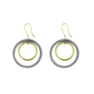 David Yurman Cable Classics 18K Yellow Gold & Sterling Silver Earrings