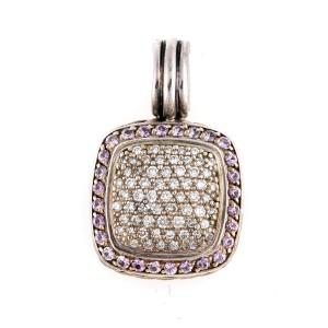 David Yurman Sterling Silver 1.00ct. Diamond and 0.5ct. Pink Sapphire Albion Pendant