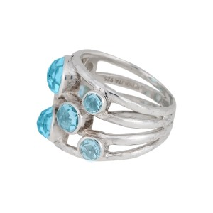 Ippolita Sterling Silver Blue Topaz Rock Candy Constellation Ring Size 7.5