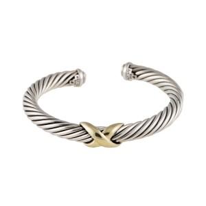 David Yurman 14K Yellow Gold and Silver X Cuff Bracelet