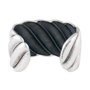 David Yurman Sterling Silver Wide Sculpted Cable Cuff Bracelet