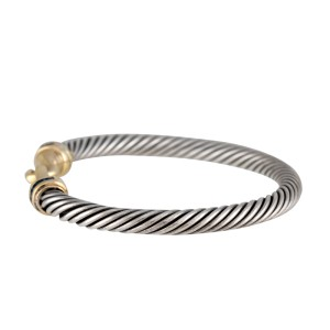 David Yurman Sterling Silver and 14K Yellow Gold Sapphire Bracelet