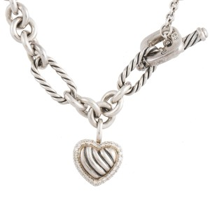 David Yurman Sterling Silver Pave Heart Charm 0.20ct Diamonds on Figaro Bracelet