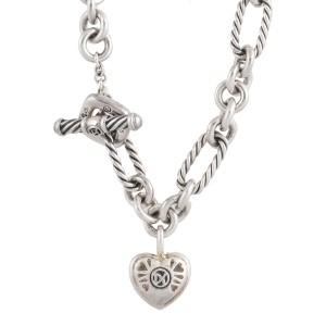 David Yurman Sterling Silver Pave Heart Charm 0.20ct Diamonds on Figaro Bracelet