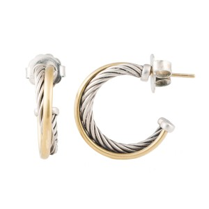 David Yurman 18k Yellow Gold and Sterling Silver Cable Cross Over Earrings