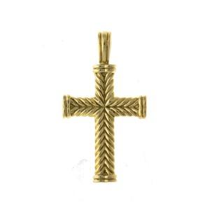 David Yurman 18k Yellow Gold Cross Pendant
