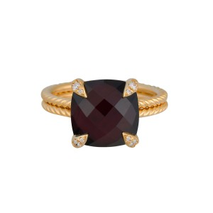 David Yurman 18k Yellow Gold Garnet and Diamonds Châtelaine Ring Size 7