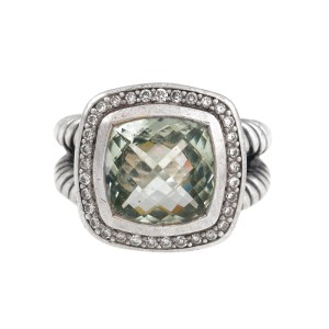 David Yurmam Prasiolite and 0.22ct Diamond Albion Ring Size 6