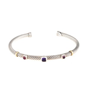 David Yurman 18K Yellow Gold and Sterling Silver Amethyst Cable Cuff Bracelet
