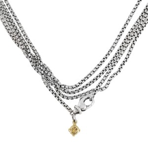David Yurman Small Box Chain 14k Yellow Gold and Sterling Silver