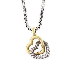 David Yurman Sterling Silver and 18k Yellow Gold Double Heart Necklace