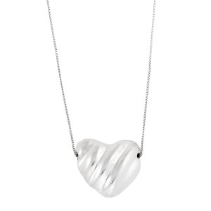 Sterling Silver Waved Puffed Heart Necklace